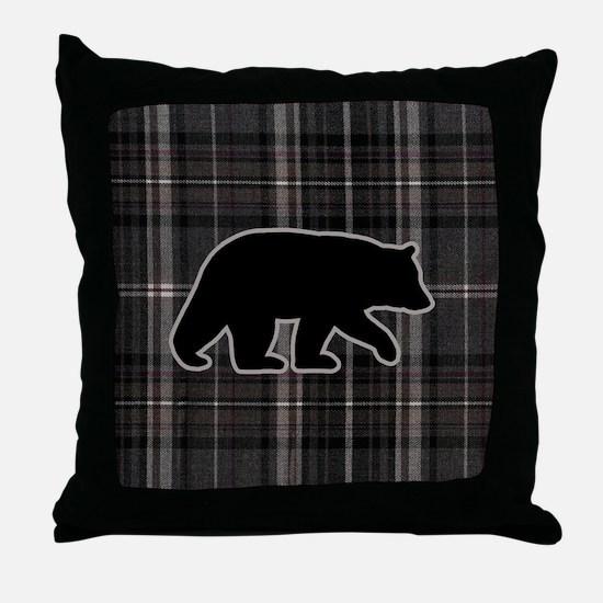 bearplaidpillowdrk Throw Pillow