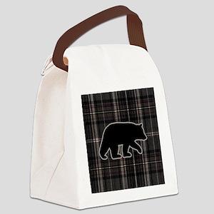 bearplaidpillowdrk Canvas Lunch Bag