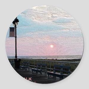 Ocean City NJ Boardwalk Sunrise Round Car Magnet