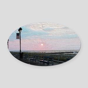 Ocean City NJ Boardwalk Sunrise Oval Car Magnet