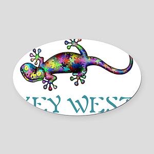 Key West Gekco Oval Car Magnet