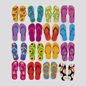 Colorful-Flip-Flops-Vector-Set Throw Blanket