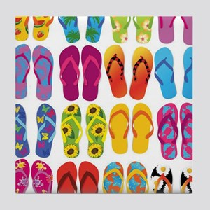 Colorful-Flip-Flops-Vector-Set Tile Coaster