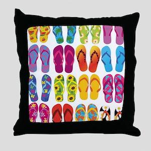 Colorful-Flip-Flops-Vector-Set Throw Pillow