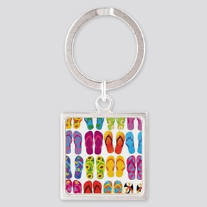 Colorful-Flip-Flops-Vector-Set Square Keychain