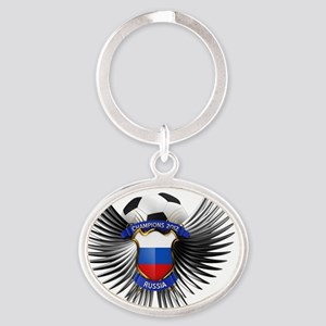 soc_wing_russia Oval Keychain