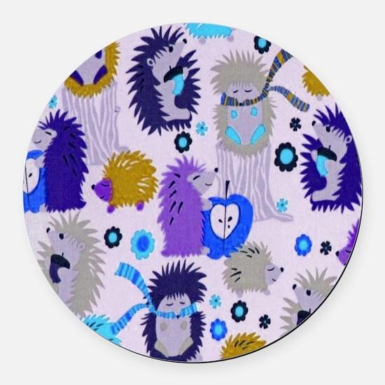 Hedgehog Meadow Cream copyf Round Car Magnet