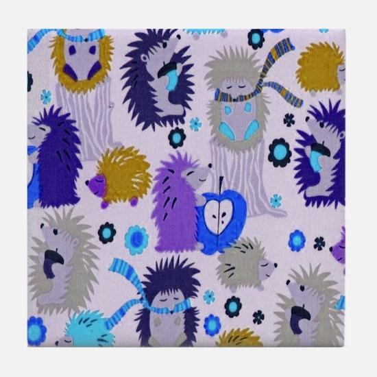 Hedgehog Meadow Cream copyf Tile Coaster