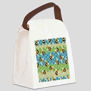 Honey Bee Blue Canvas Lunch Bag
