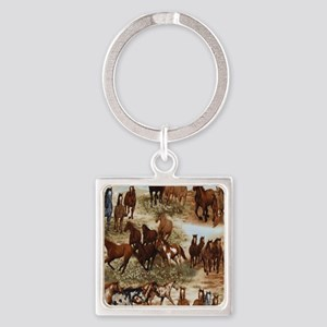 Horses Sable Square Keychain