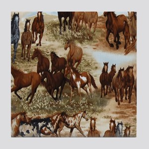Horses Sable Tile Coaster