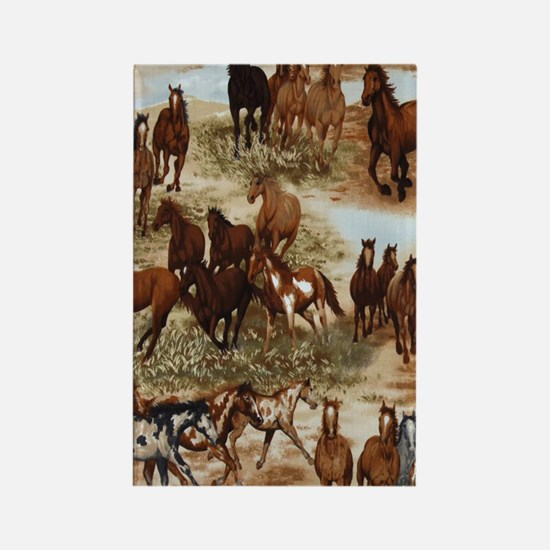 Horses Sable Rectangle Magnet