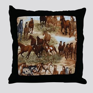 Horses Sable Throw Pillow
