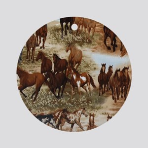 Horses Sable Round Ornament