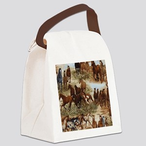 Horses Sable Canvas Lunch Bag