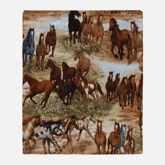 Horses Sable Throw Blanket