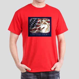 Red Siberian Husky US Flag Dark Colored T-Shirt