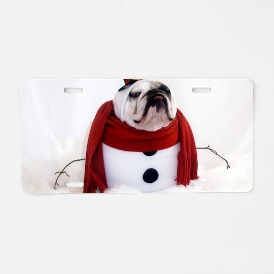 Snowman Aluminum License Plate