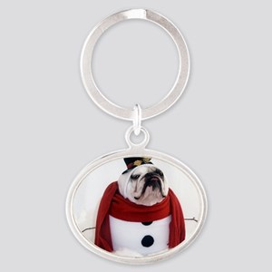 Snowman Oval Keychain