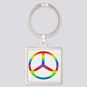 peace rainbow Square Keychain