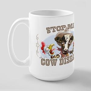 Funny Stop Mad Cow Disease Large Mug