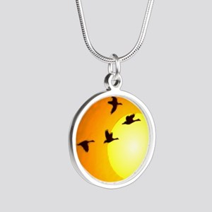 Geese Silver Round Necklace