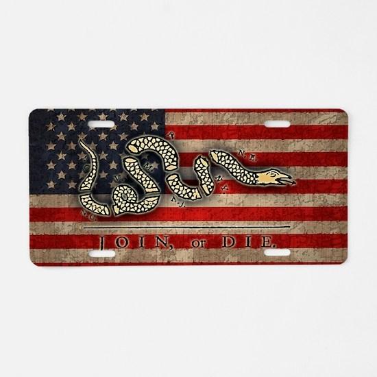 flag1-join-die-OV Aluminum License Plate
