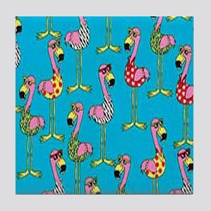 sharp-flamingos- Tile Coaster