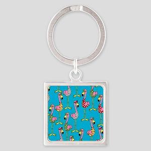 sharp-flamingos- Square Keychain