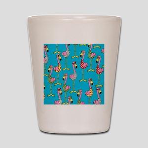 sharp-flamingos- Shot Glass