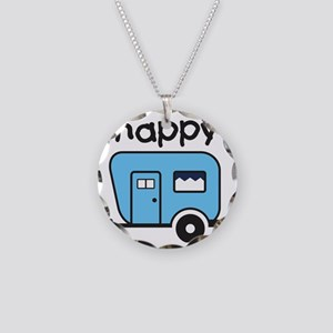 happy camper blue Necklace Circle Charm