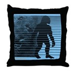 Bigfoot Blue Throw Pillow