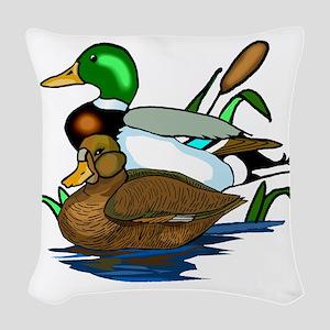 mallard ducks Woven Throw Pillow