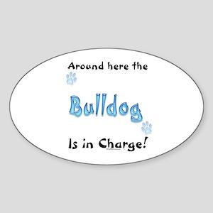 Bulldog Charge Oval Sticker