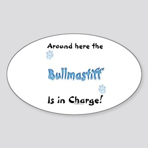 Bullmastiff Charge Oval Sticker