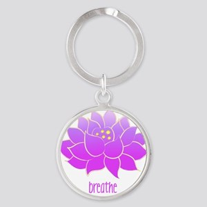 breathe lotus Round Keychain