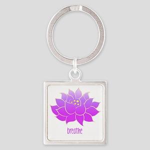 breathe lotus Square Keychain