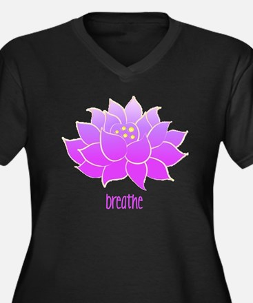 breathe lotu Women's Plus Size Dark V-Neck T-Shirt
