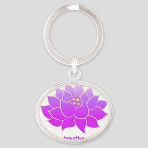 breathe lotus Oval Keychain