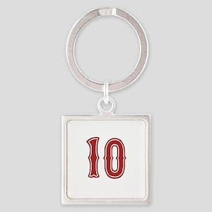 redsoxwhite10 Square Keychain