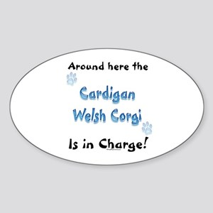 Welsh Corgi Charge Oval Sticker