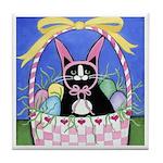 Black Tuxedo Cat Easter Bunny ART Tile