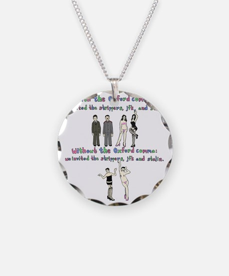 oxford comma Necklace Circle Charm