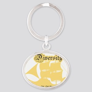 diversity on dark Oval Keychain