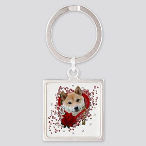 Valentine_Red_Rose_ShibaInu Square Keychain