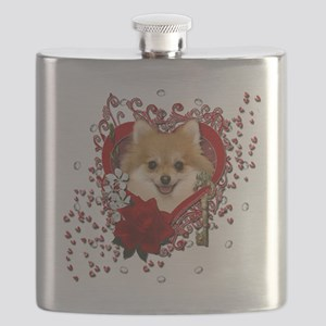 Valentine_Red_Rose_Pomeranian Flask