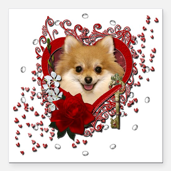 "Valentine_Red_Rose_Pomer Square Car Magnet 3"" x 3"""