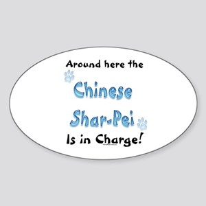 Shar Pei Charge Oval Sticker