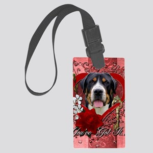 Valentine_Red_Rose_GreaterSwissM Large Luggage Tag