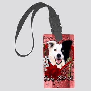 Valentine_Red_Rose_BorderCollie Large Luggage Tag